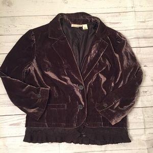 DKNY Brown Velvet Blazer